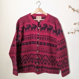 WOOLRICH Holiday Sweater Christmas Reindeer Red